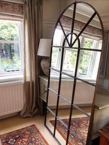 Late 19th century French Factory wrought Iron Mirrored Window