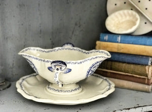 19th century French faience china saucier gravy boat.