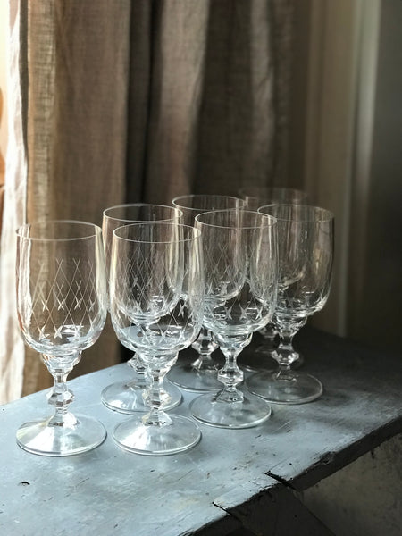 Mid 20th century French Cut Glass Wine Glasses