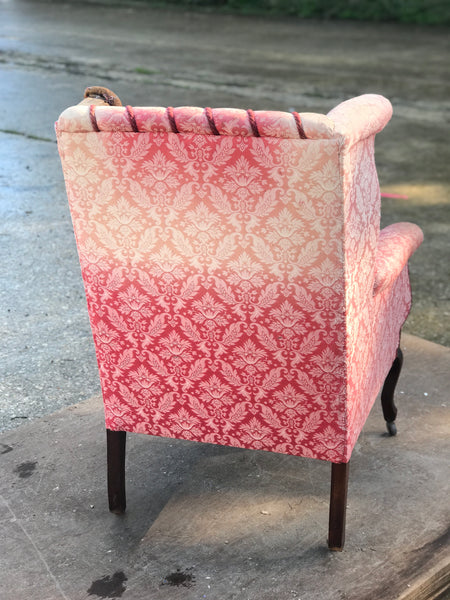 Victorian Show-frame Buttoned wing chair.