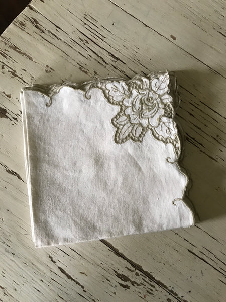 Early 20th century linen napkins with broderie Anglaise.