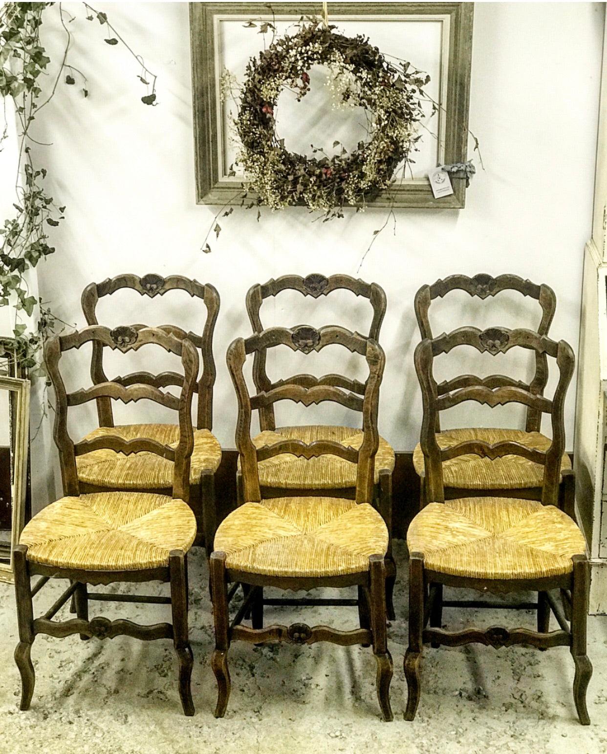 1940's French Rush Seat Provencal Dining Chairs