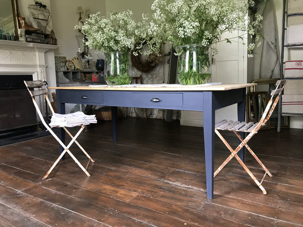 Bespoke Dining Table with Antique Top and drawers.