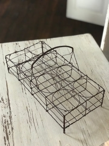 19th century French  'Port Verre' wire glass caddy.