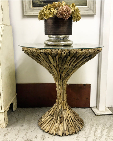 20th century one-off driftwood table with glass top.