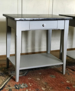 Contemporary Shaker Style Bedside Table with Zinc Top