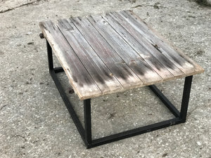 19th century French door coffee table on iron base.