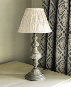 Mid 20th century Solid Brass Table Lamp with Pinch Pleat Shade