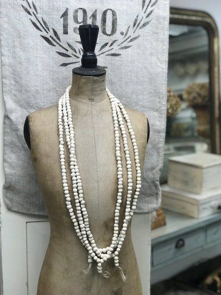French handmade bisque-ware bead necklace.