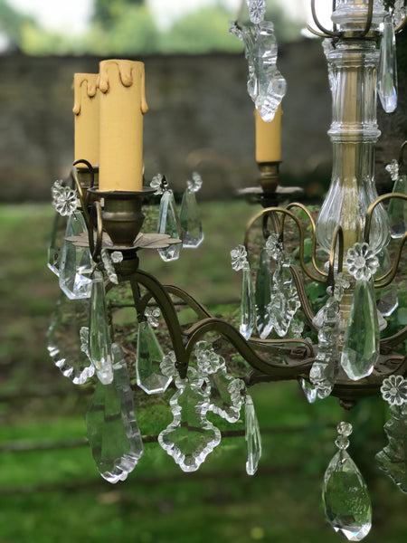 Antique French Chandelier with Faceted Crystal Drops.