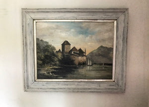 19th century painting of Chillon Castle oil on board.