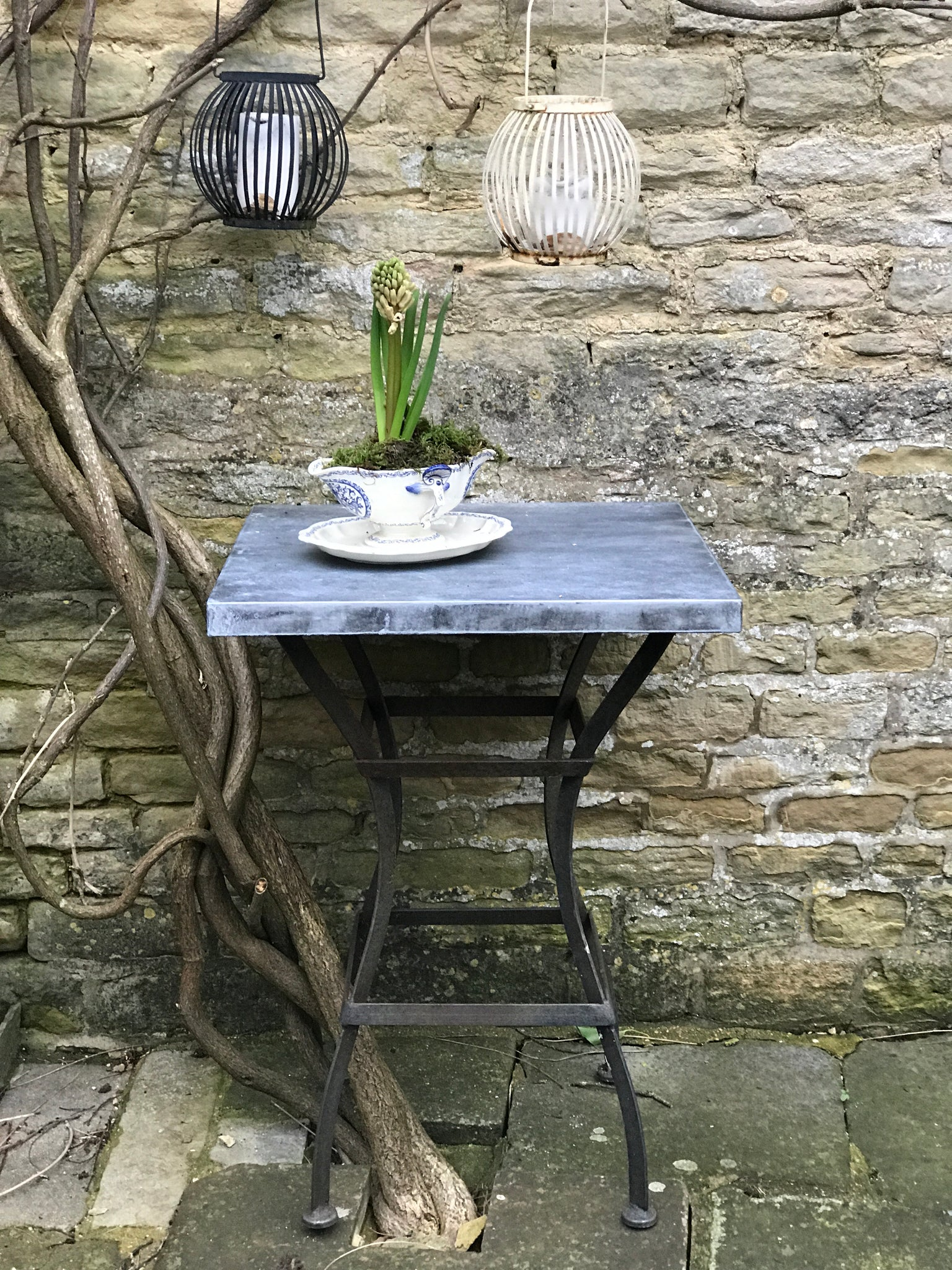 20th century Zinc Garden Cafe table on Iron base.