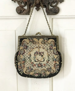 1920's Needlepoint Evening Bag with satin lining.