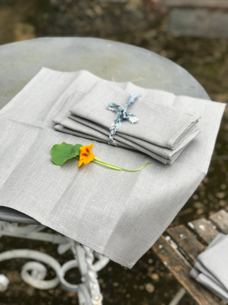 Set of 6 Powder-Blue Linen Napkins