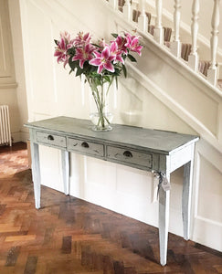 20th century Painted Hardwood Console Table with Three Drawers.