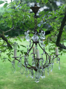 Early 20th century French Chandelier with Faceted Crystal Drops.