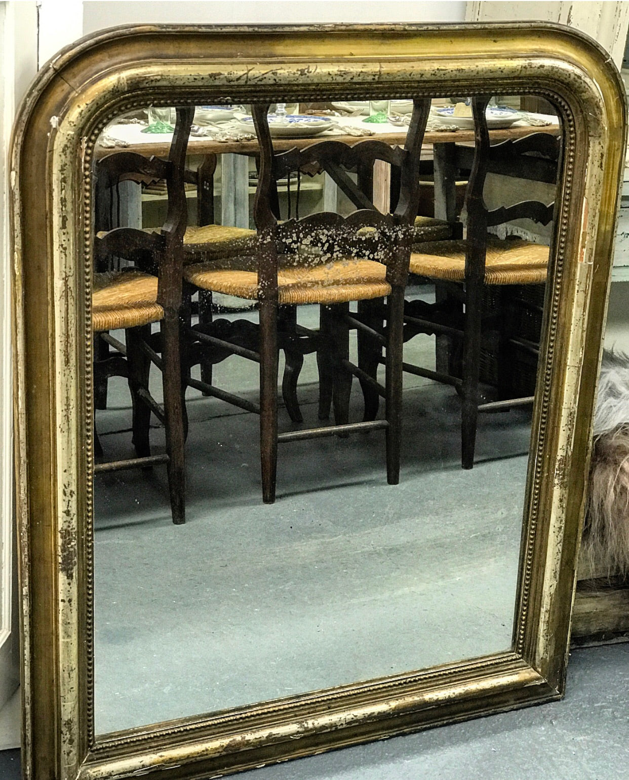 Late 19th C French Louis Philippe Mirror in gilt wood frame.