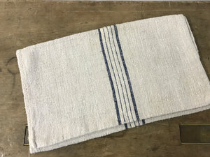 Antique Linen Grain Sack with 5 Ink Blue Stripes