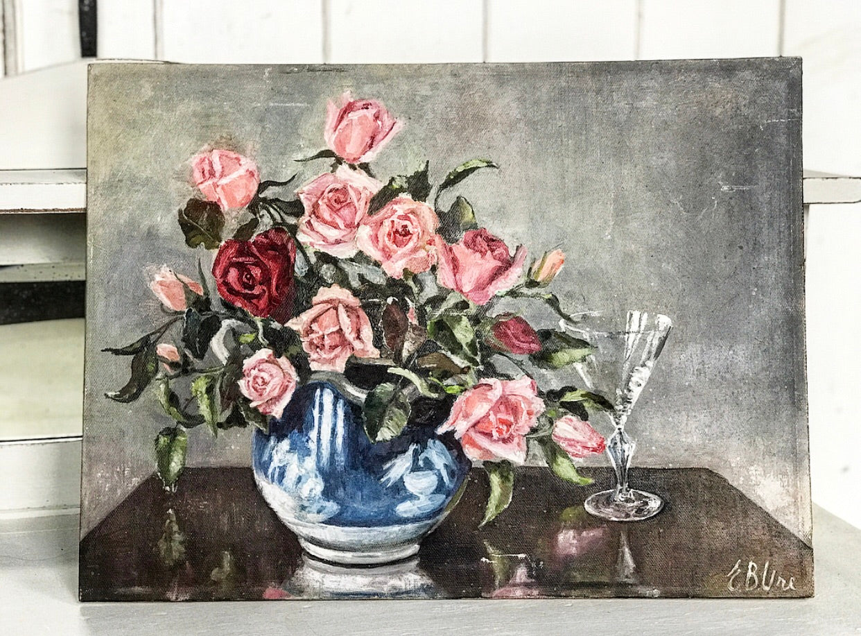 1950's Oil still life of roses.