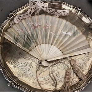 Victorian Silk Embroidered Hand Fan