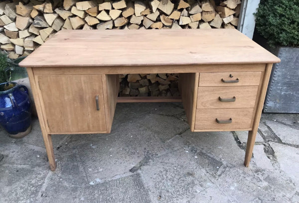 1950's original Danish Teak desk with drawers and cupboard.