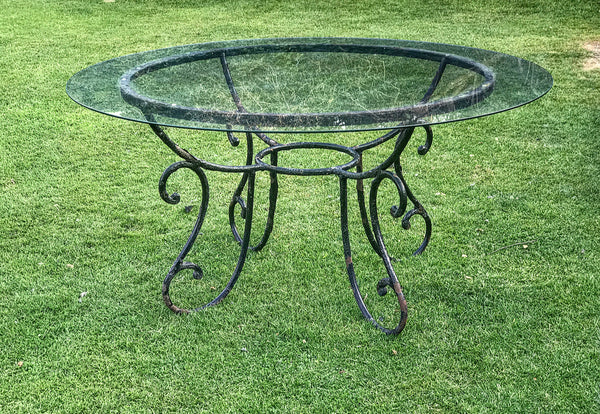 Early 20th century Italian Wrought and Glass Table