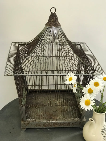 Mid 20th century French wire Bird Cage in Oriental style.
