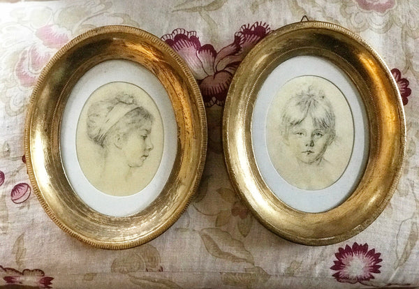 Early 20th century Child Portraits In Gilt Frames