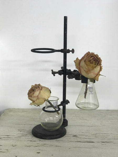 1940's Iron chemistry stand and test bottles.