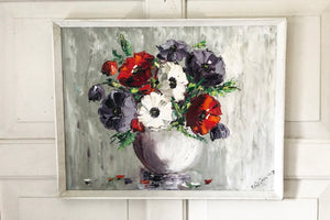 1970's original still life painting of flowers in a vase.