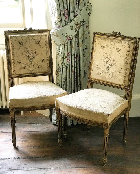 Turn of 20th century French Gilt Wood Salon Chairs.