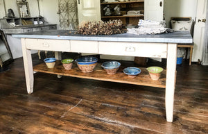 19th Century French scullery table with a bespoke zinc top.
