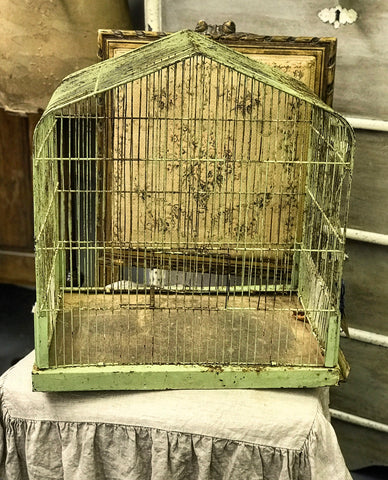 Mid 20th century Metal wire Bird Cage with original paint.