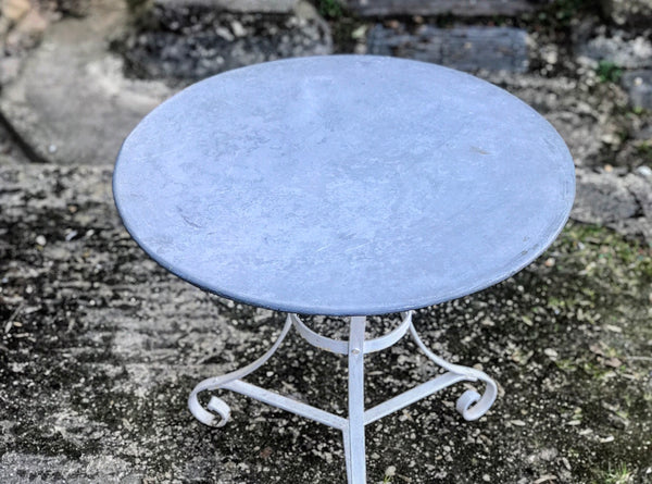 Round Zinc Top Café Table With Metal Base