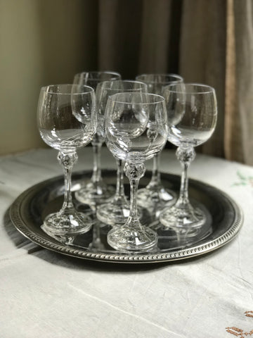 Early 20th century French Crystal White Wine Glasses.