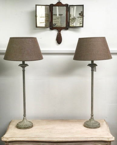 Pair of 20th century lamps with shades.