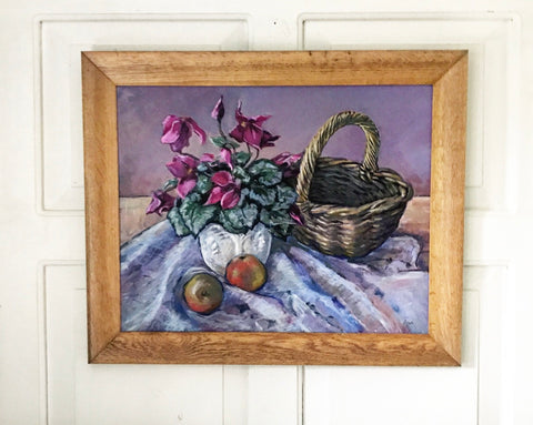 Late 20th century still life on board of Cyclamen