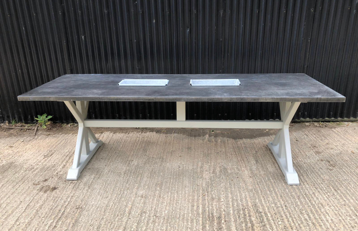 Bespoke Zinc Table with Troughs