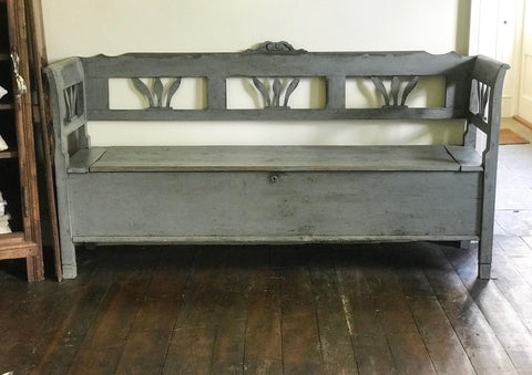 Antique French Box Settle Bench