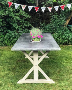 Zinc top dining table on painted base