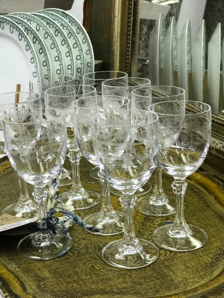 Late 19th century French etched crystal glasses