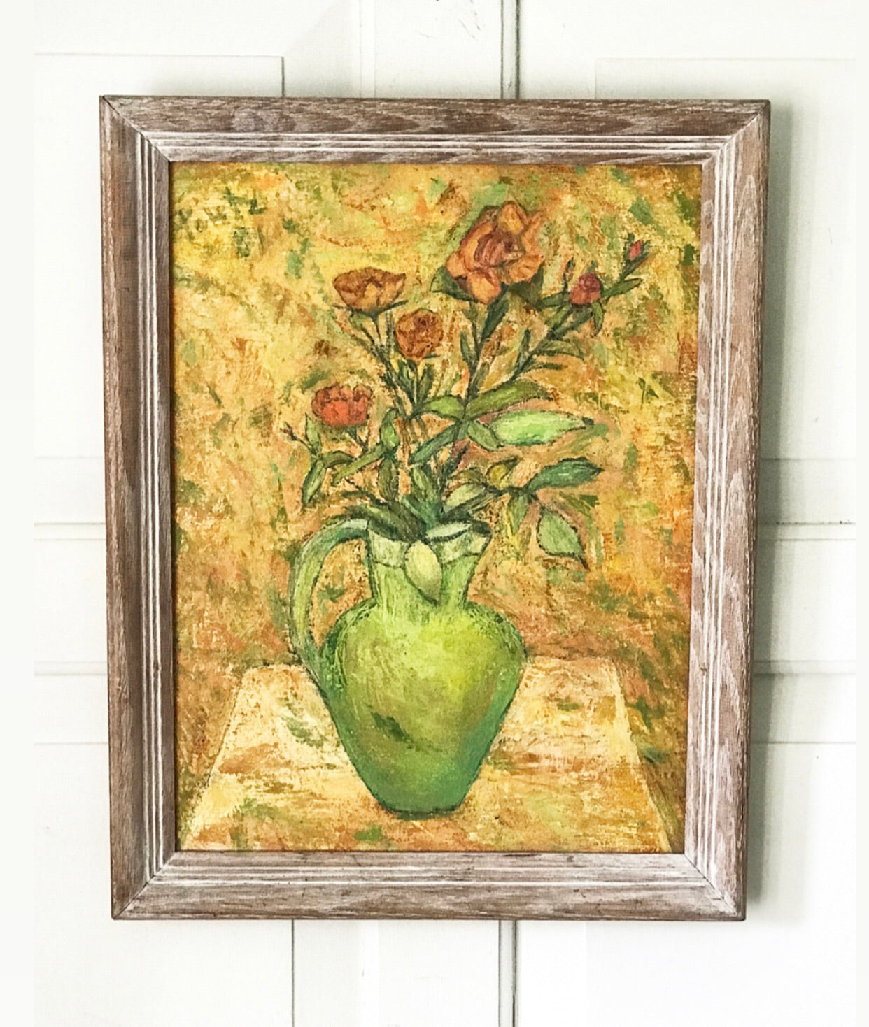 Mid 20th Century Still life of Roses in Green Vase.