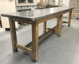Early 20th century Lab Table with Zinc Top