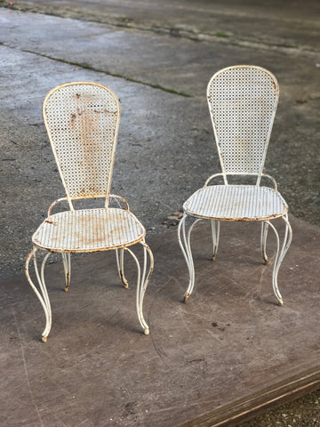Late 19th century French wrought iron garden chairs