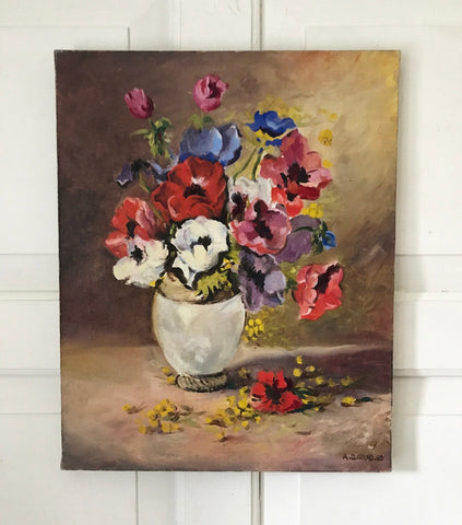 1960's French oil still life painting on canvas.
