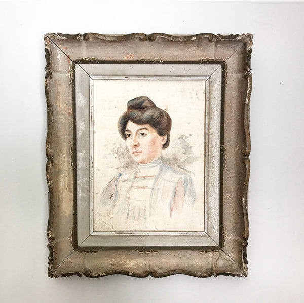 19th century French signed watercolour portrait in carved wood frame.