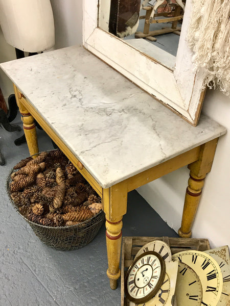 19th century French table with original paint and marble top