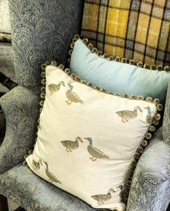 Bespoke Mallard cushion with Bobble Trim
