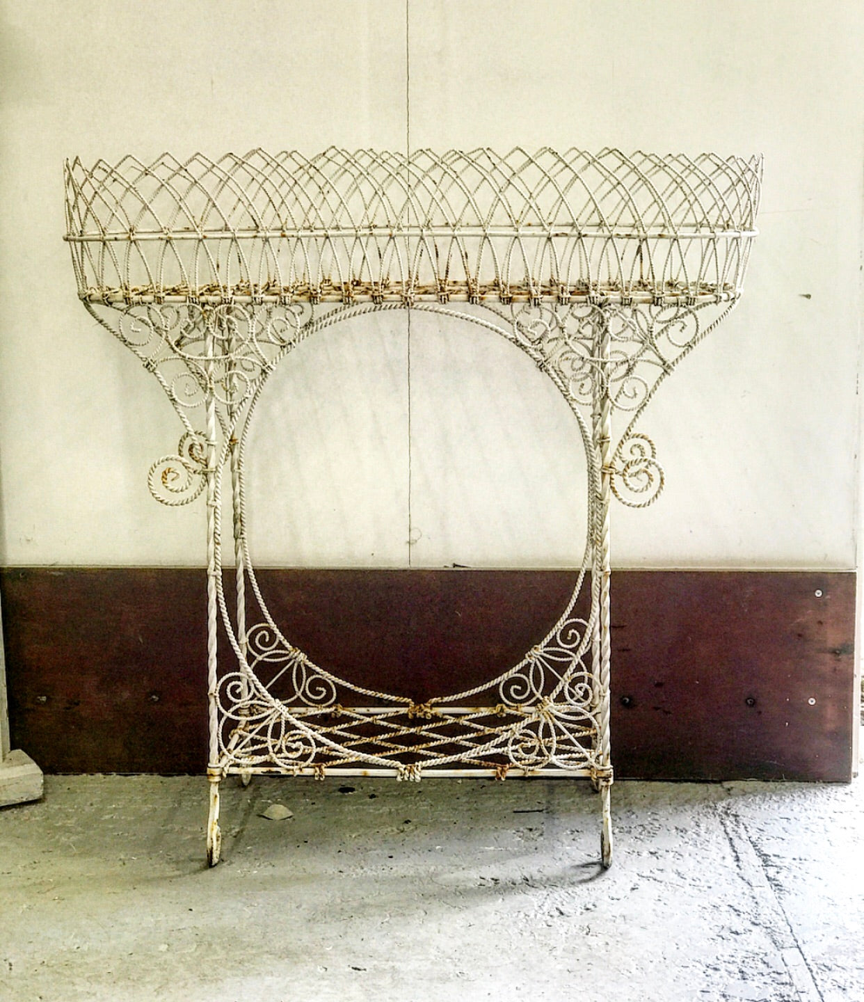 Early 19th century Georgian Wirework Jardiniere in original paint.