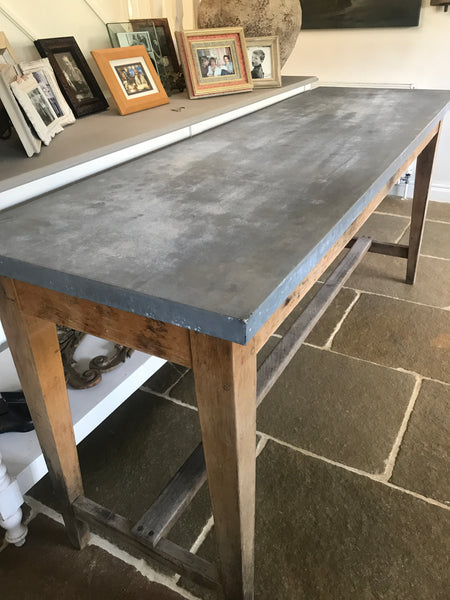 Early 20th century Chemistry Lab Table with Zinc Top